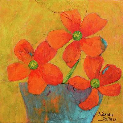 Painting - Three Flowers by Nancy Jolley