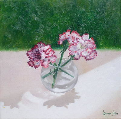 Glass Table Reflection Painting - Three Flowers  by Rebecca Giles