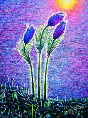 Etc. Painting - Three Flowers by Viktor Lazarev