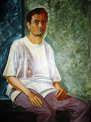 Maharashtra Painting - three fourth Self portrait with white t-shirt and grey trousers by Makarand Joshi