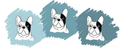 Digital Art - Three Frenchies  by Rachel Barrett