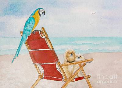 Wall Art - Painting - Three Friends At The Beach by Midge Pippel