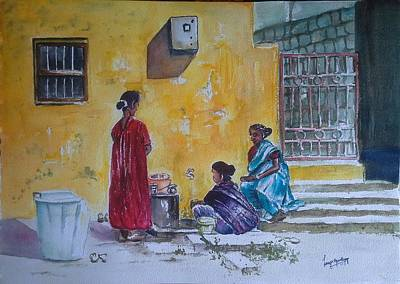 Scrubbing Painting - Three Friends by Lasya Upadhyaya
