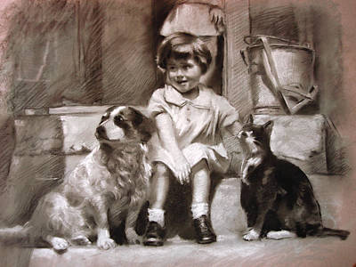 Cat Artwork Drawing - Three Friends On The Doorstep by Ylli Haruni