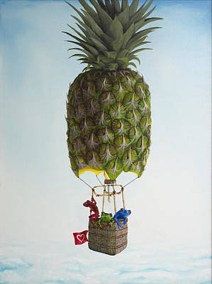 Daniel Wall Painting - Three Frogs And A Pineapple by Daniel Wall