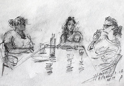 Cafes Drawing - Three Generations  by Ylli Haruni