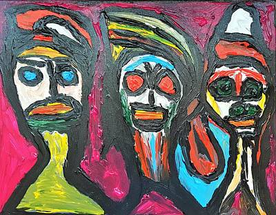 Painting - Three Genies 3 Wishes by Darrell Black