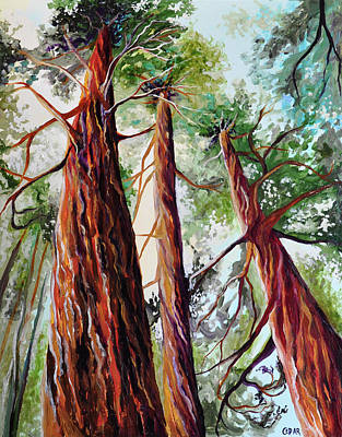 Giant Sequoia Painting - Three Giants by Cedar Lee