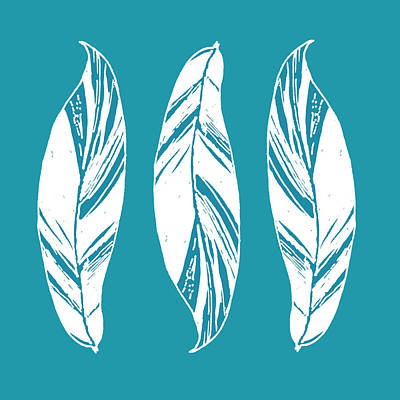 Digital Art - Three Ginger Leaves - Teal by Karen Dyson