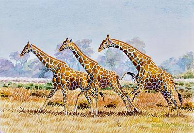 Painting - Three Giraffes by Joseph Thiongo