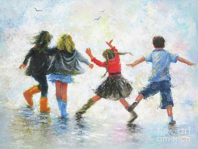 Three Girls Painting - Three Girls And Boy by Vickie Wade