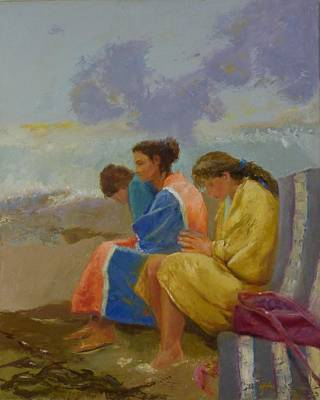 Painting - Three Girls By The Sea by Irena  Jablonski