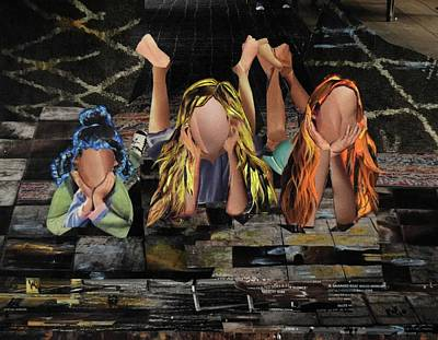 Lying Mixed Media - Three Girls by Roxana Rojas-Luzon