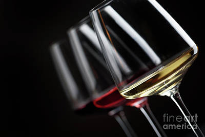 Winery Photograph - Three Glass Of Wine by Jelena Jovanovic