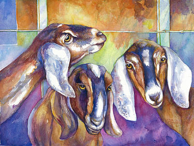 Nubian Painting - Three Goats by Peggy Wilson