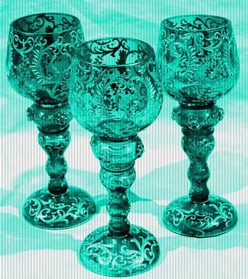 Priska Wettstein Pink Hues - Three Goblets in Turquoise Catus 1 no. 1 V b by Gert J Rheeders