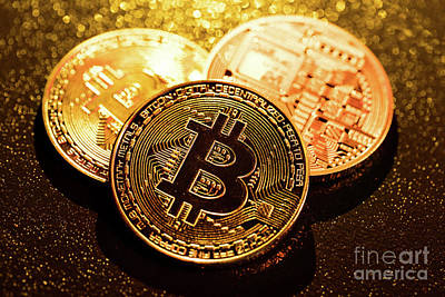 Photograph - Three Golden Bitcoin Coins On Black Background. by Michal Bednarek