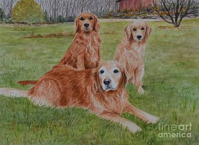 Painting - Three Goldens by Michelle Welles
