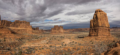Photograph - Three Gossips And Courthouse Towers Panorama - Arches National Park - Moab Utah by Brian Harig