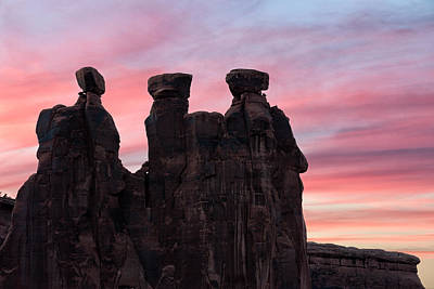 Three Gossips At Sunset Art Print