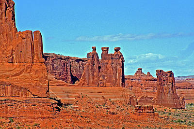 Photograph - Three Gossipsthree Gossips In Arches National Park, Utah In Arches National Park, Utah  by Ruth Hager