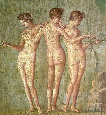 Painting - Three Graces, From Pompeii, Fresco, Roman, 1st Century Ad by Roman School