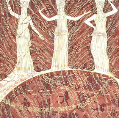 Greek Vase Painting - Greece, Cariatides And Bacchantes, Terracotta And White, Decorative Painting by Julia Khoroshikh