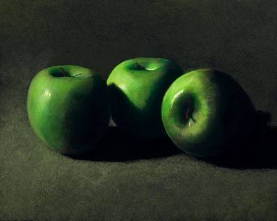 Food And Beverage Royalty-Free and Rights-Managed Images - Three Green Apples by Frank Wilson
