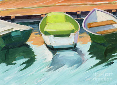 Painting - Three Green Boats by Lynne Schulte