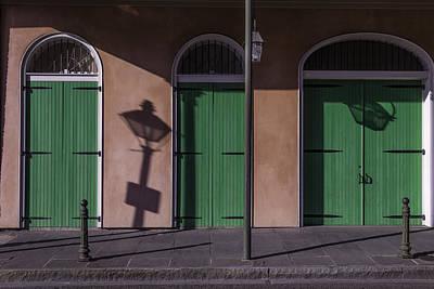 Nola Photograph - Three Green Doors by Garry Gay
