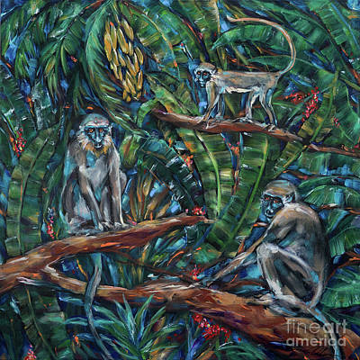 Painting - Three Green Monkeys by Linda Olsen