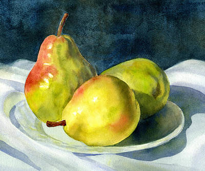 Pear Watercolor Painting - Three Green Pears by Sharon Freeman