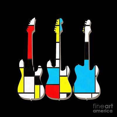 Guitar Painting - Three Guitars Modern Tee by Edward Fielding