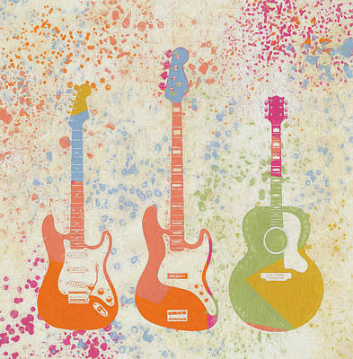 Painting - Three Guitars Paint Splatter by Dan Sproul