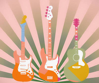 Mixed Media - Three Guitars Pop Art by Dan Sproul