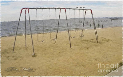 Photograph - Three Gulls And A Swing Set by Melissa Messick