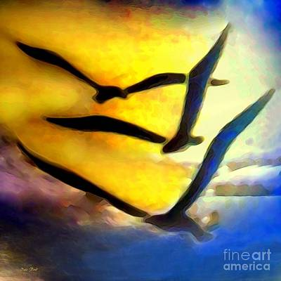 Digital Art - Three Gulls by Dale   Ford