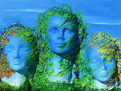 Mixed Media - Three Head Sisters by P Dwain Morris