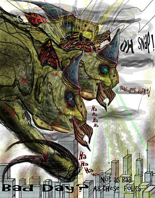 Fling Drawing - Three Headed Bird Cyborg Monster Attacking A City With Fire And Lasers by Don Lee