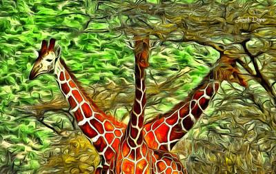 Africa Digital Art - Three Heads Giraffe - Da by Leonardo Digenio