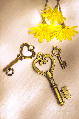 Photograph - Three Heart Shaped Keys With Flowers On Wooden Table by Jorgo Photography - Wall Art Gallery