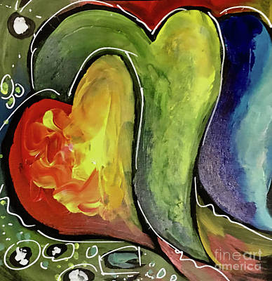 Painting - Three Hearts by Cindy DeGraw