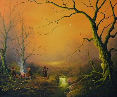 Three Hobbits A Fox And Supper Original by Joe  Gilronan