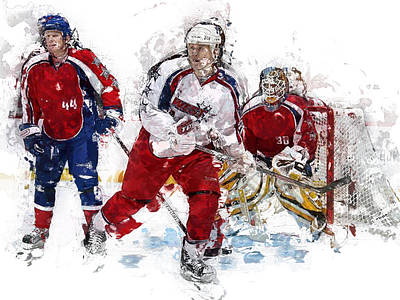 Net Painting - Three Hockey Players At The Goal by Elaine Plesser
