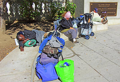 Photograph - Three Homeless People With Their Stuff by Cora Wandel