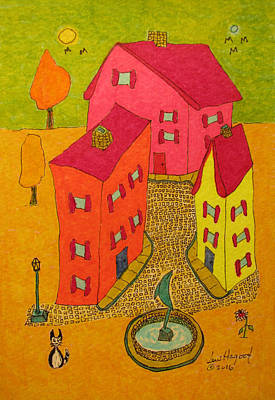 Painting - Three Homes With Sculpture Fountain by Lew Hagood