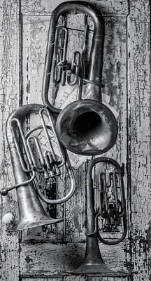 Tuba Wall Art - Photograph - Three Horns Hanging On Door by Garry Gay