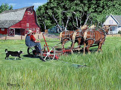 Old Barn Painting - Three Horsepower by Timithy L Gordon