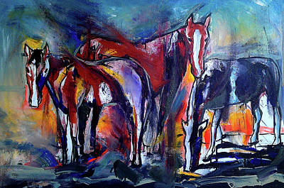Painting - Three Horses by John Jr Gholson