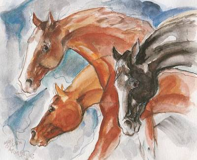 Painting - Three Horses by Mary Armstrong
